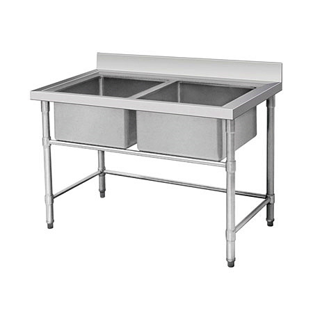Large 2 Compartment Stainless Steel Sink