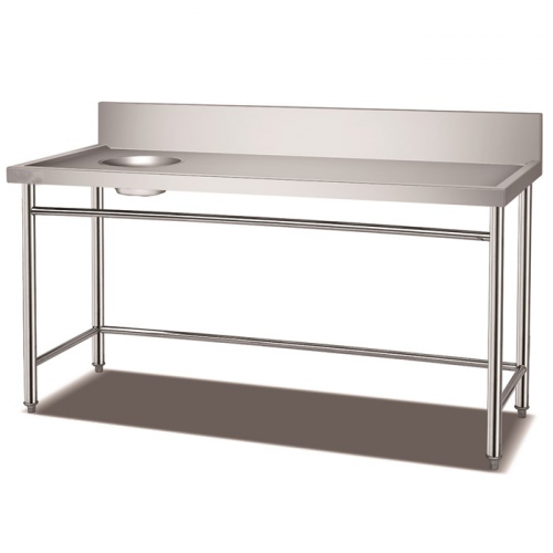 Stainless Steel Soiled Dish Table With Garbage Hole